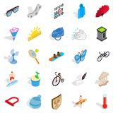 Sport for relaxation icons set, isometric style. Sport for relaxation icons set. Isometric set of 25 sport for relaxation vector icons for web isolated on white Stock Image