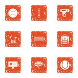 Sport republic icons set, grunge style. Sport republic icons set. Grunge set of 9 sport republic vector icons for web isolated on white background Royalty Free Stock Photography