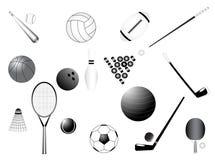 Sport requisites. Illustration of sport requisites, black, white Stock Photo