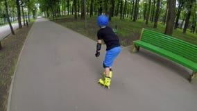 Sport rollerblade hobby fast inline skating speed stock footage