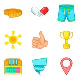 Sport round icons set, cartoon style. Sport round icons set. Cartoon set of 9 sport round vector icons for web isolated on white background Royalty Free Stock Photography