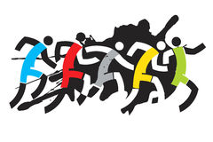 Sport Runners. Grunge stylized drawing of runner race. Vector illustration Stock Photo