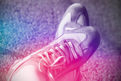 Sport running shoes. On the road Royalty Free Stock Images