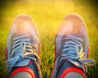 Sport running shoes. On the road Royalty Free Stock Photo