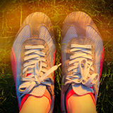 Sport running shoes. With sun shine Royalty Free Stock Image