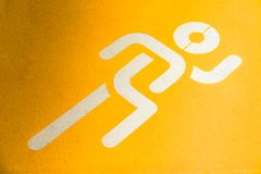 Sport running sing. For background, run icon on the ground, run way, running space stock image