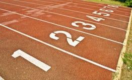 Sport running track. In the stadium Royalty Free Stock Photos