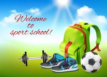 Sport School Realistic Background. Welcome to sport school realistic background with backpack sneakers football ball rod decorative icons vector illustration vector illustration
