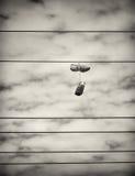Sport-Schuhe, die von den Stromleitungen hängen Stockbilder