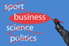 Sport?Science?Politics?Business!. Words: sports, science, politics crossed out the word business allocated Stock Photography