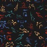 Sport seamless pattern. Flat style Royalty Free Stock Photography