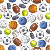 Sport seamless pattern with sketch game balls Royalty Free Stock Photography