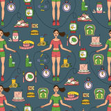 Sport seamless pattern. Weight Loss, Diet template. Royalty Free Stock Photography