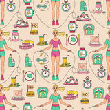 Sport seamless pattern. Weight Loss, Diet template. Fitness and health collection. Thin line design. Vector pictograms Royalty Free Stock Images