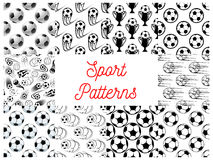 Sport seamless patterns with soccer balls Royalty Free Stock Image