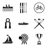 Sport section icons set, simple style. Sport section icons set. Simple set of 9 sport section vector icons for web isolated on white background Royalty Free Stock Image