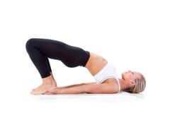 Sport serie: Młoda blondynki kobieta robi joga Obraz Royalty Free