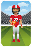 Sport series: American football player. Illustration of an American football player on the field Royalty Free Stock Image