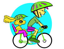 Dog Child and Bicycle, Cartoon Royalty Free Stock Images
