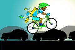 African Indian Man on Bicycle, Diversity Cartoon Royalty Free Stock Image