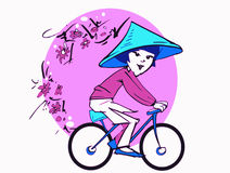 Asian Woman on Bycicle, Cartoon Royalty Free Stock Photo