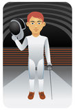 Sport series: Fencer holding weapon. Visit my portfolio for more sports men and women Royalty Free Stock Image