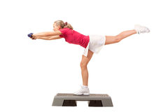 Sport Series: Step Aerobics with Dumbbells Stock Photos