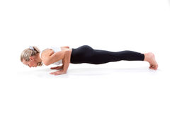 Sport Series: yoga . Plank Position. Sport Series: yoga . Beautiful Young Woman Doing Plank Position Stock Photo