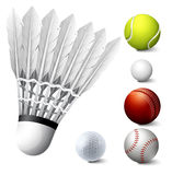 Sport set with birdie and balls. Illustration Royalty Free Stock Photo
