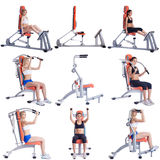 Sport. Set of cute girls exercising on simulators stock photos