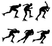 Sport set ice speed skating. Black silhouette athletes Royalty Free Stock Photos