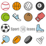 Sport set of 14 icons in a flat style Royalty Free Stock Image