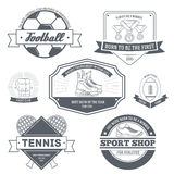 Sport set label template of emblem element for. Your product or design, web and mobile applications with text. Vector illustration with thin lines isolated Stock Photo