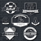 Sport set label template of emblem element for your product, emblem, logo or design, web and mobile applications with. Text. Vector illustration with thin lines Stock Image