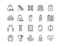 Sport. Set of outline vector icons. Includes such as Fitness Tracker, Cardio monitor, Bodybuilding equipment and other. Sport. Set of outline vector icons Royalty Free Stock Images