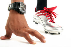 Sport shoe. Photograph of man wearing football sport shoe Royalty Free Stock Photos