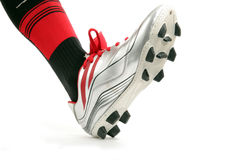 Sport shoe. Photograph of man wearing football sport shoe Stock Images