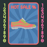 Sport shoe flat design icon. Vector hot sale label. Royalty Free Stock Image