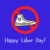 Sport shoe in the prohibition sign. Vector outline illustration with the sport shoe in the prohibition sign. Cool concept for happy labor day illustration royalty free illustration