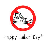 Sport shoe in the prohibition sign. Vector outline illustration with the sport shoe in the prohibition sign. Cool concept for happy labor day illustration vector illustration