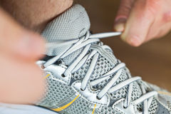 Sport shoe tying Stock Image