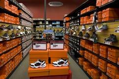 Sport shoe wear store. Lot of nice sneakers in Sports Authority store near Seattle Stock Photos