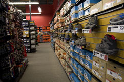 Sport shoe wear store. Lot of nice sneakers in Sports Authority store near Seattle Royalty Free Stock Images