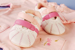 Sport shoes for baby girl Royalty Free Stock Photography