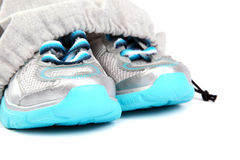 Sport shoes in bag on a white background. Stock Images