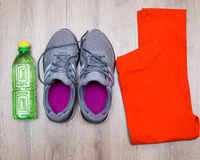 Sport shoes bottle of water Stock Photos