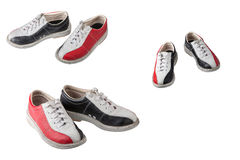 Sport shoes for bowling isolated on white background. Sports shoes for bowling game black red, set of three pairs of shoes isolated on white background Royalty Free Stock Photography