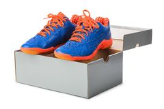 Sport shoes in box Royalty Free Stock Photo