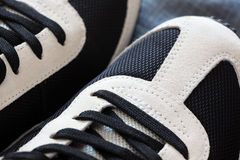 Sport Shoes Close-up. Sport shoes on a denim background. Close-up Royalty Free Stock Images