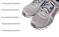 Sport shoes closeup. Sport shoes isolated on a white background.The text can be easily removed Stock Image